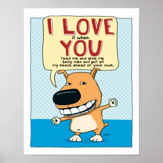 Te amo poster divertido del perro