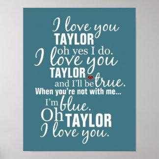 Te amo poster personalizado de la canción