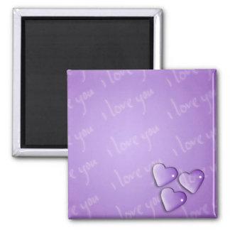 Te amo púrpura iman de frigorífico