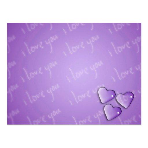 Te amo púrpura postales