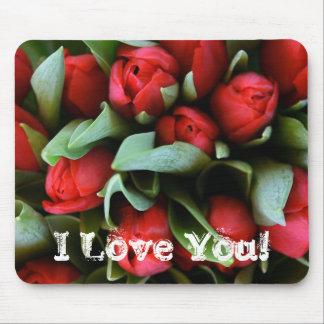 Te amo ramo rojo de los tulipanes de Mousepad de l Tapete De Ratones