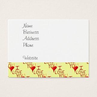 Te amo rojo dibujado mano linda del corazón tarjeta de negocios