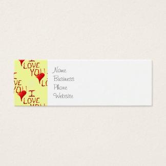 Te amo rojo dibujado mano linda del corazón tarjetas de visita mini