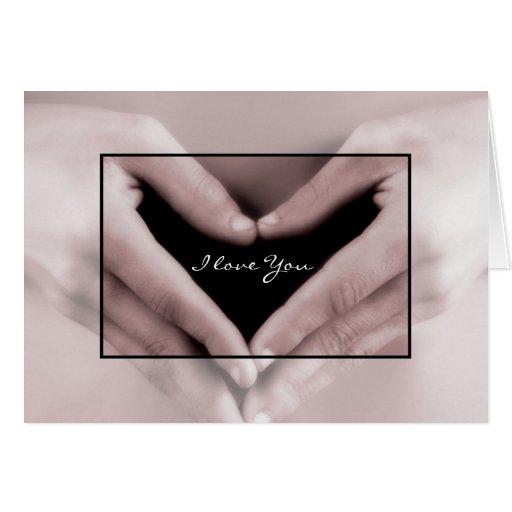 Te amo romántico mi corazón está en sus manos tarjetas