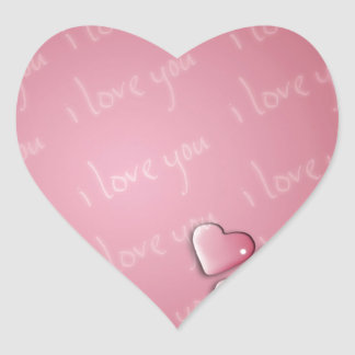 Te amo rosa pegatina corazon