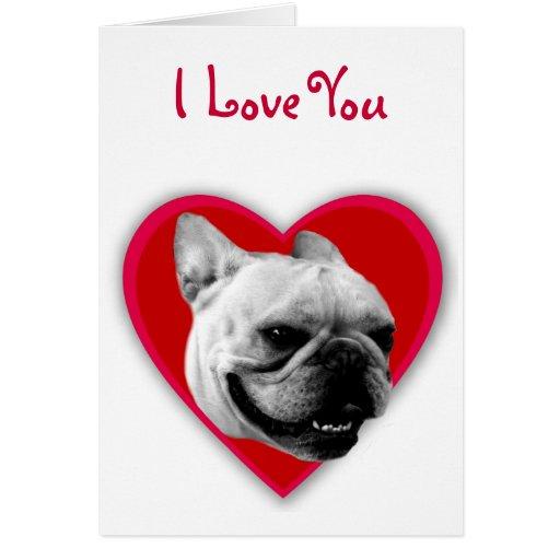 Te amo tarjeta de felicitación del dogo francés