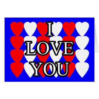 Te amo tarjeta roja y blanca del corazón