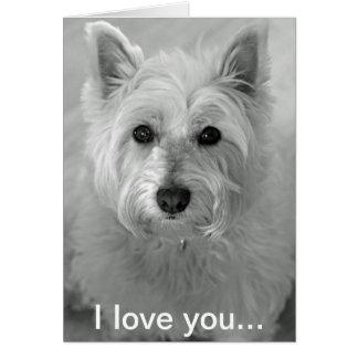 Te amo tarjeta - tarjeta linda del perro de Westie