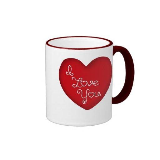 Te amo taza de café roja del campanero del corazón