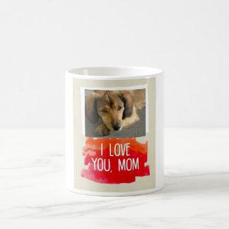 Te amo taza de encargo de la foto del perro de la