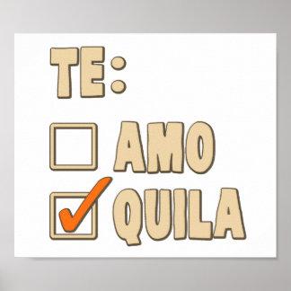 Te Amo Tequila Spanish Choice Poster