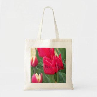 Te amo tote rojo del tulipán de la mamá bolsa tela barata