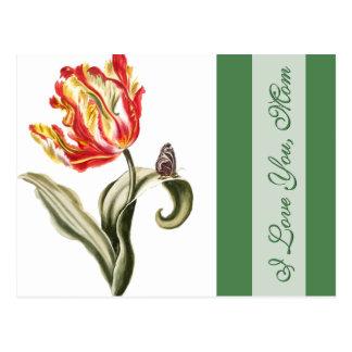 Te amo tulipán de la primavera de la mamá para el  tarjetas postales
