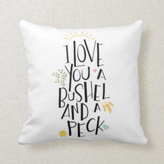 Te amo un celemín y un peck el | {parte posterior cojín decorativo