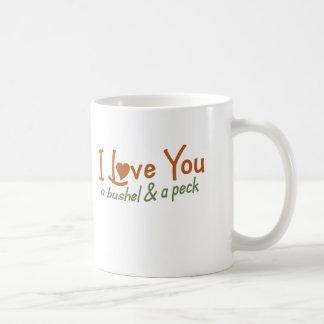 Te amo un celemín y un peck taza de café