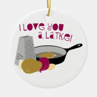 ¡Te amo un Latke! Adorno Navideño Redondo De Cerámica