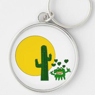 ¡Te amo, usted cactus gruñón viejo! Llavero Redondo Plateado