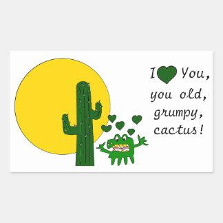 ¡Te amo, usted cactus gruñón viejo! Pegatina Rectangular