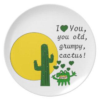 ¡Te amo, usted cactus gruñón viejo! Plato Para Fiesta