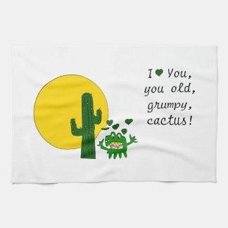 ¡Te amo, usted cactus gruñón viejo! Toalla De Mano