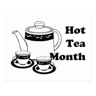 Té caliente - pote del té y tazas de té tarjeta postal