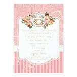 Té color de rosa antiguo de la ropa interior del invitaciones personales