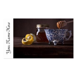 Té con el limón y la miel tarjetas de visita