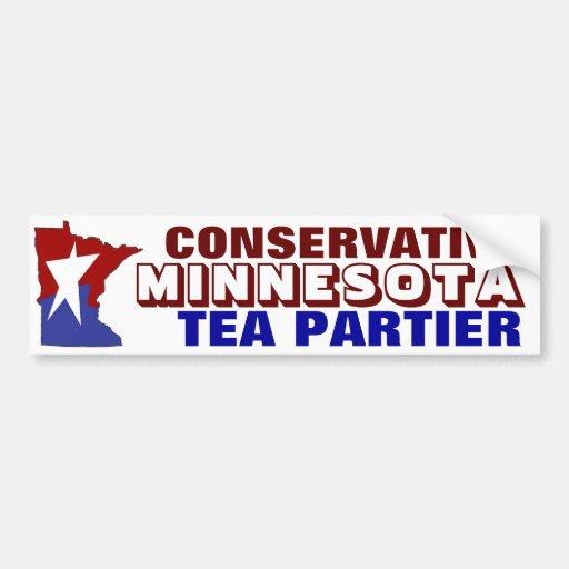 Té conservador Partier de Minnesota Pegatina De Parachoque