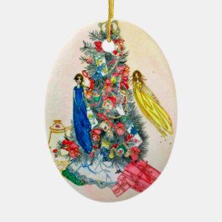 Té de hadas del navidad, hada del hogar adorno navideño ovalado de cerámica