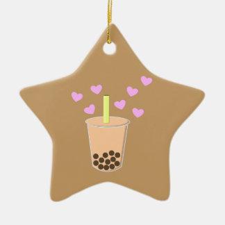 Té de la burbuja del amor adorno navideño de cerámica en forma de estrella