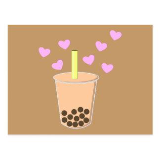 Té de la burbuja del amor tarjeta postal