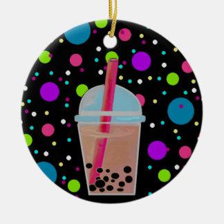 Té de la burbuja - fondo de la burbuja adorno navideño redondo de cerámica