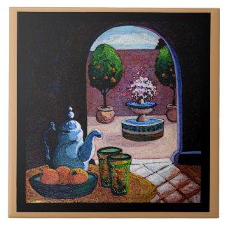 Té de la menta, patio marroquí azulejo cuadrado grande