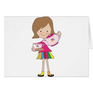 Té de la niña tarjeta de felicitación