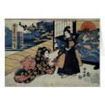 Té de ofrecimiento del geisha tarjeta de felicitación