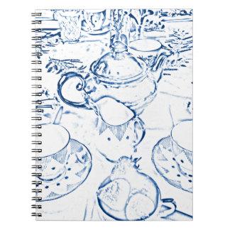 Té de tarde en azul spiral notebook