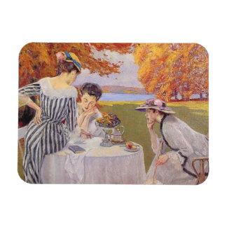té de tarde en el parque imán foto rectangular