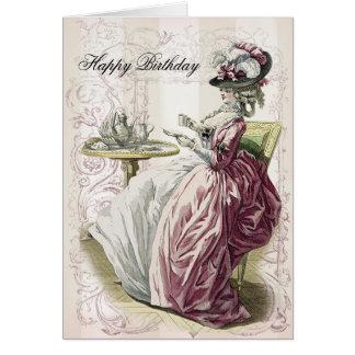 Té de tarde, feliz cumpleaños, tarjeta de felicitación