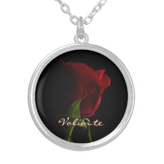 Te del Collar-Volim de la foto del rosa rojo Collar Plateado