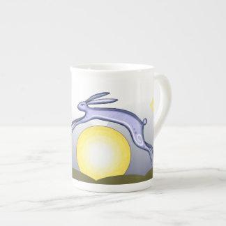 Té del conejo y de la luna tazas de porcelana
