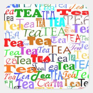 ¡Té del té del té! Pegatina Cuadrada