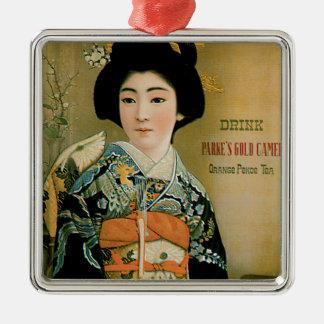 Té del té negro de calidad superior anaranjado de adorno navideño cuadrado de metal
