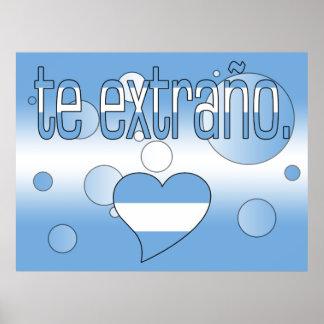 Te Extraño! Argentina Flag Colors Pop Art Poster