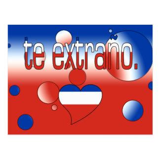 Te Extraño! Chile Flag Colors Pop Art Postcard