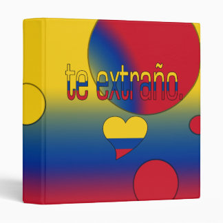 Te Extraño! Colombia Flag Colors Pop Art 3 Ring Binder