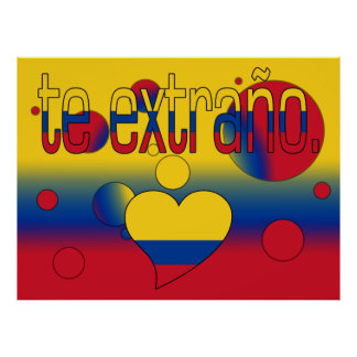 Te Extraño! Colombia Flag Colors Pop Art Poster