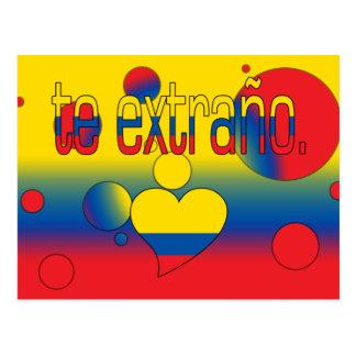 Te Extraño! Ecuador Flag Colors Pop Art Postcard