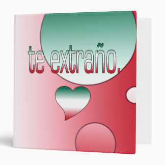 Te Extraño! Mexico Flag Colors Pop Art 3 Ring Binder