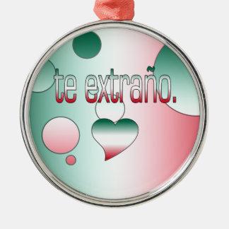 Te Extraño! Mexico Flag Colors Pop Art Christmas Tree Ornament
