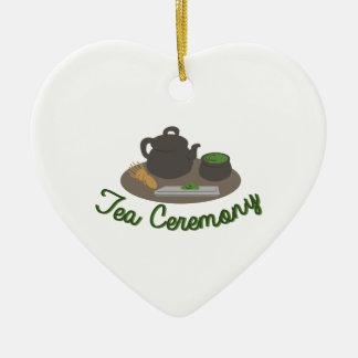 Té japonés de la ceremonia de té adorno navideño de cerámica en forma de corazón
